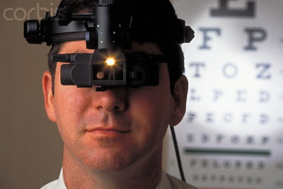 Ophthalmologist Wearing Examination Instrument