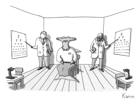 zachary-kanin-a-hammerhead-shark-gets-his-eyesight-check-by-two-eye-doctors-in-either-co-new-yorker-cartoon