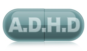 Green Pill with reflection and A.D.H.D text