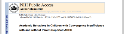 NEI paper Behaviors in Children with Convergence Insufficiency